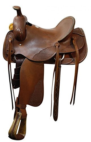 """Roper Style Saddle Western Roping- 15"""" Cantle - Medium Oil"""