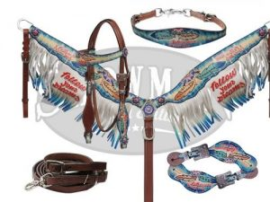 """""""Follow Your Dreams"""" Limited Edition 5 Piece Matching Set Includes Headstall, Breast Collar with Fringes, Leather Contest Reins, Spur Straps, Wither Strap"""
