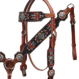 Navajo Embroidered Headstall Reins Breast Collar 3 Piece Set - Antique Finish + Turquoise Conchos - Crystals Rhinestones