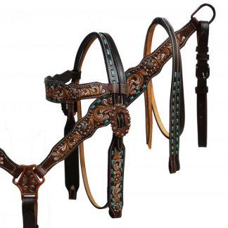 Hand Painted Floral Tooled Headstall Reins Breast Collar 3 Piece Set - Teal Buck Stitch