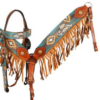 Hand Painted Dream Catcher Browband Headstall Reins Breast Collar 3 Piece Set – Horse Size – Medium Oil Leather - Fringes