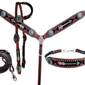 4 Piece beaded arrow headstall and breast collar set