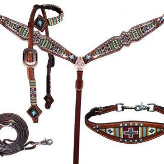 4 Piece beaded navajo cross print headstall and breast collar set
