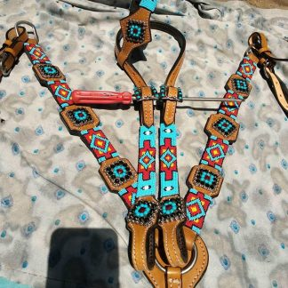 Headstall + Reins + Matching Breast Collar Set - Beaded Tack Set - Light Tan Oil Leather