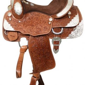 """16"""" Fully Tooled Western Show Saddle - Full Silver Package - Made from Premium Leather - Medium Oil"""