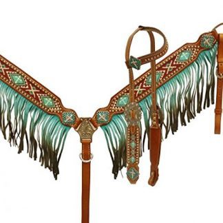 Ombre Fringe Headstall and Breast Collar Set with Beaded Cross Inlay - TEAL