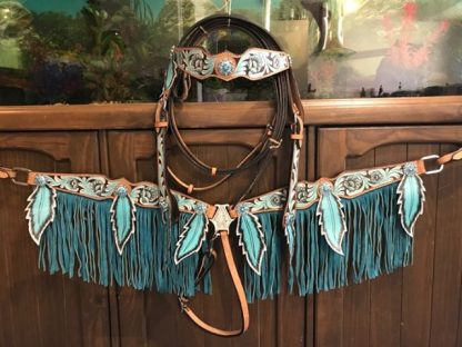 browband-tooling-teal-feathers-fringes-light-tan-oil-headstall-reins-breast-collar-set-4