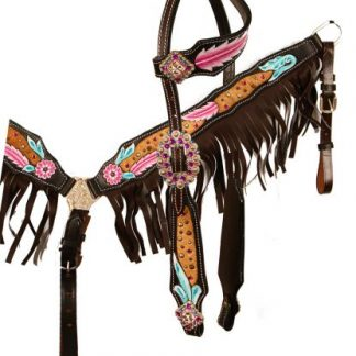 Hand Painted Feather Single One Ear Headstall Reins Breast Collar 3 Piece Set – Horse Size – Dark Oil Leather - Fringes