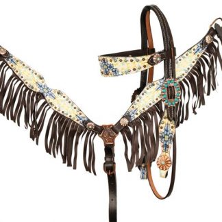 Filigree CrossPrintBrowband Headstall Reins Breast Collar 3 Piece Set – Horse Size – Dark Oil Leather - Fringes