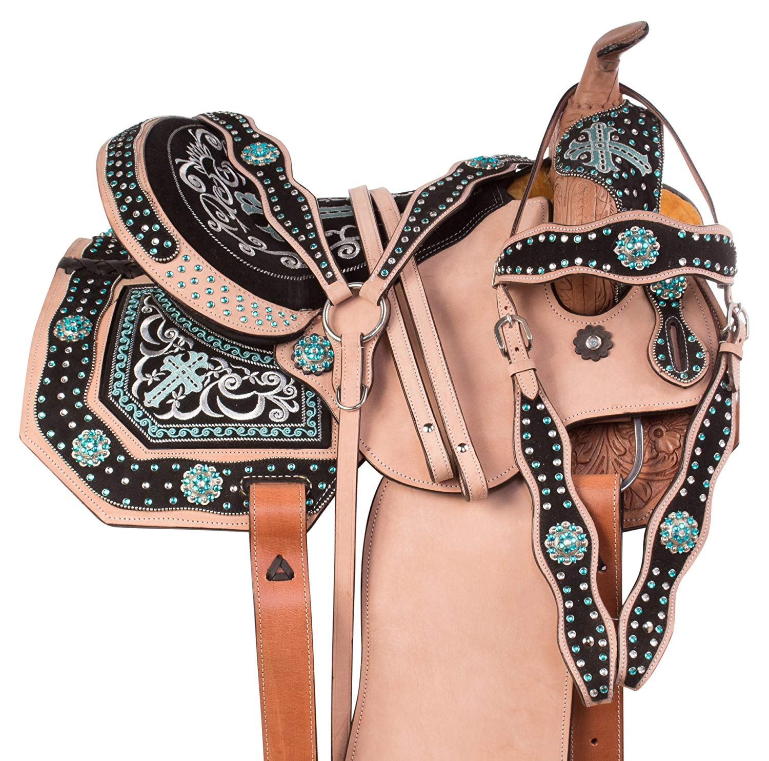 12 13 14 15 16 17 Turquoise Cross Crystal Bling Barrel Racing Western Rough Out Leather Horse Show Saddle 3 Piece Tack Set Horse Tack Saddles