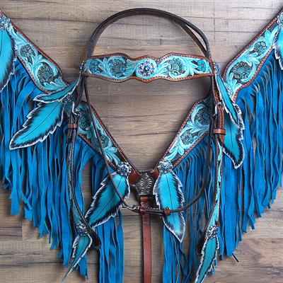 $99 Sale Teal, Pink or Purple, Dark Leather with Blue Fringe and Teal Painted Feathers Browband Headstall and Breast Collar Set