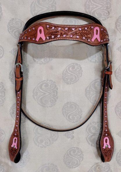Pink Rhinestones Breast Cancer Conchos Bridle, Breast Collar, 7' foot Long Split Reins Set - Horse Size