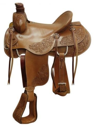 PREMIUM TOOLED WESTERN RANCH ROPING HORSE SADDLE 16 17 RANCHER ROPER PACKAGE