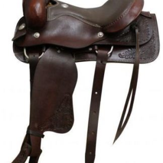 Dark Oil Smooth Padded Seat Roping Style Western Saddle