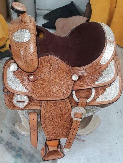 Western Show Saddle-TAN-SILVER-8