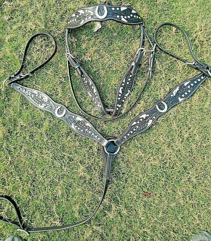 Bridle Breast Collar Leather Tack Set Western Saddle Miniature size Horse Bling