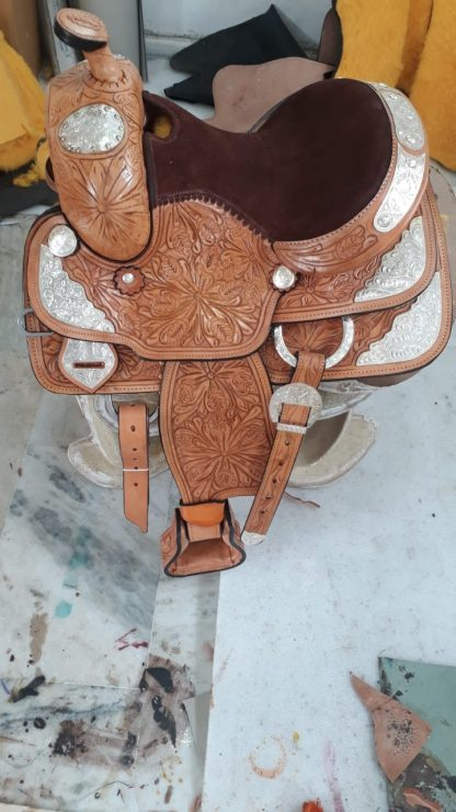 Western Show Saddle-TAN-SILVER-2