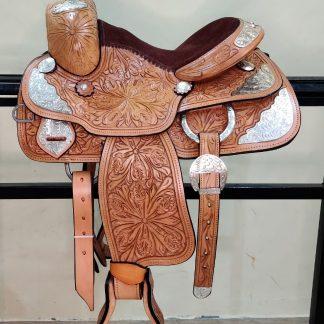 Western Show Saddle-TAN-SILVER-5