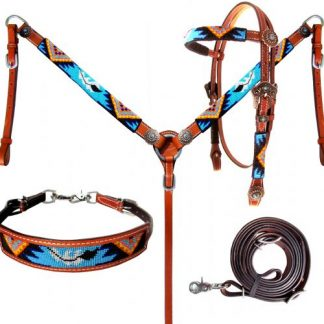 Beaded Aztec 4 Piece Headstall and Breastcollar Set-1
