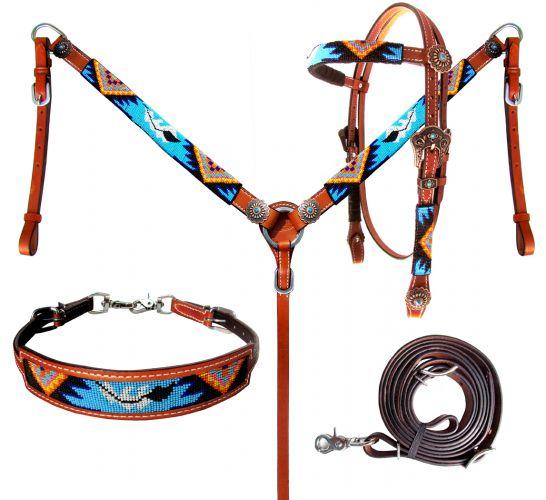 Full Size 1 Ear Dark /& Medium Leather Beaded Western Headstall Breast Collar Set
