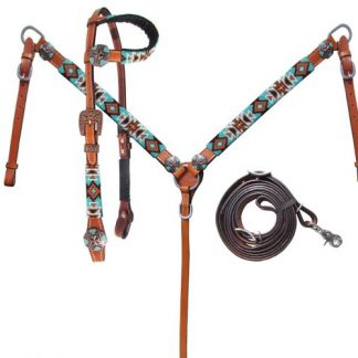 Turquoise and Orange beaded single one ear headstall and breast collar set-1