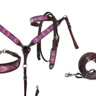 Pink, teal, and purple navajo beaded inlay Headstall Breast Collar Reins 3 Piece Set-6