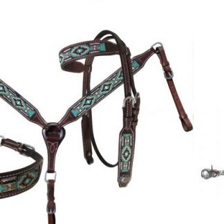4 Piece Set Teal, White, Black, Gold Navajo Beaded Inlay Headstall, Breast Collar, Reins Dark Oil Leather-4