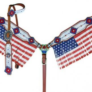 American Flag fringed headstall and breast collar set