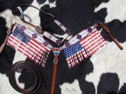 American Flag fringed headstall and breast collar set-1