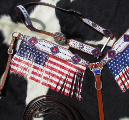 American Flag fringed headstall and breast collar set-2