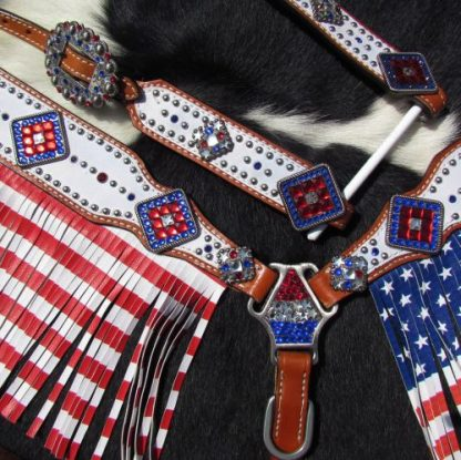 American Flag fringed headstall and breast collar set-3