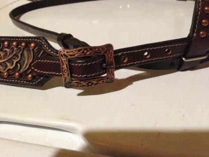 Tack Set Antique Copper Finish Dark Oil Leather Tooling - 16