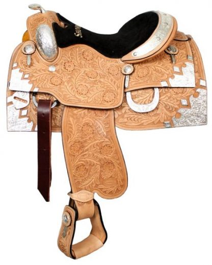 Show Saddle Floral Tooled - Silver Horn