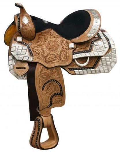 Show Saddle Fully Tooled Medium Oil Black Inlay + Silver