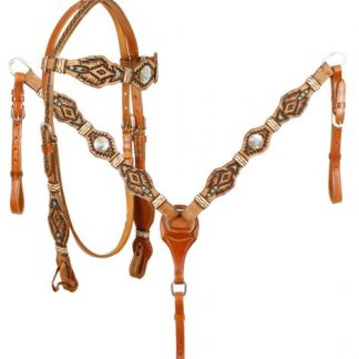 Rawhide Braided Browband Turquoise Stones Headstall and Breastcollar Reins Set