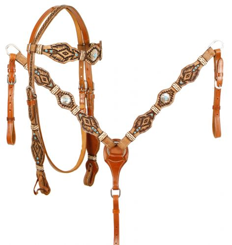 Breast Collar Wither Western Horse Leather Tack Set w// Sunflower Design Bridle