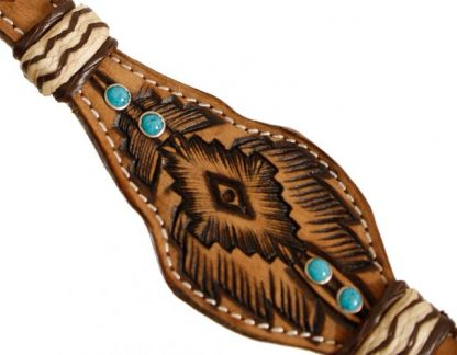 Rawhide Braided Browband Turquoise Stones Headstall and Breastcollar Reins Set-1