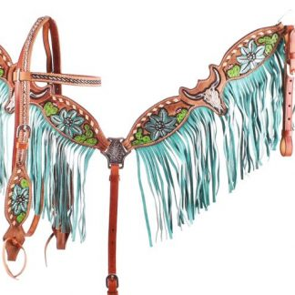 Hand Painted Steer Skull and Cactus Headstall Breast Collar Reins Set
