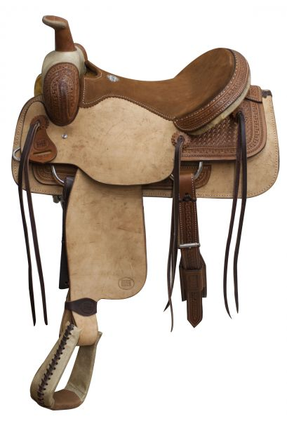 Roping Saddle Basketweave Rawhide Brown