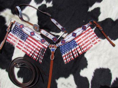 USA American Flag - Fringes - Tack Set - 2