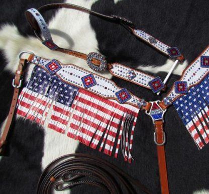 USA American Flag - Fringes - Tack Set - 3