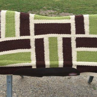 Lime /brown Showman contoured Western saddle pad 6241 wool w/memory felt 33 X 38
