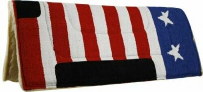 """Showman 30"""" x 32"""" AMERICAN FLAG Red White Blue SADDLE PAD Suede Wear Leather"""