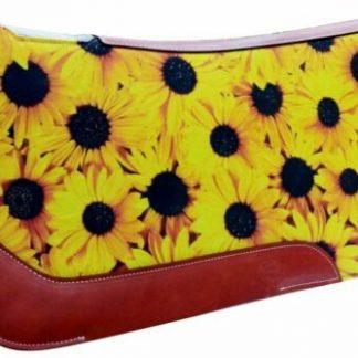 "NEW! Showman 31"" X 32"" Sunflower Printed Solid Felt Saddle Pad!"