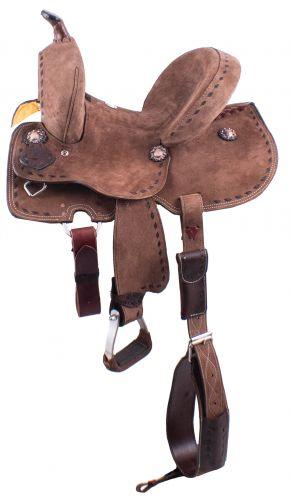 "12"" Youth Hard Seat Barrel Style Saddle - Rough Out Leather - Buckstitch Trim-1"