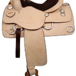 """16"""" DOUBLE T WESTERN TRAINING WORK HORSE SADDLE FULL QH BARS AND SUEDE SEAT 6331"""