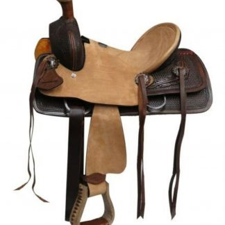 """10"""" Double T Youth Rough Out Hard Seat Roper Style Saddle Basket Weave Tooling!"""