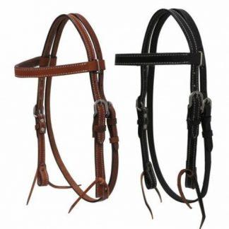 PONY Western Economy headstall Bridle Reins Double Stitched Leather Medium Black