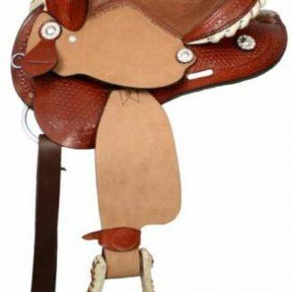 "12"" Double T Youth SADDLE Basketweave Tooled Leather SQHB"
