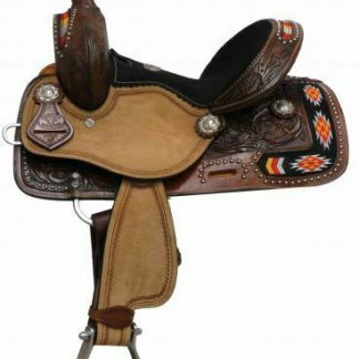 """Double T 12"""" Youth / Pony SADDLE Embroidered NAVAJO with Brown Suede Seat"""